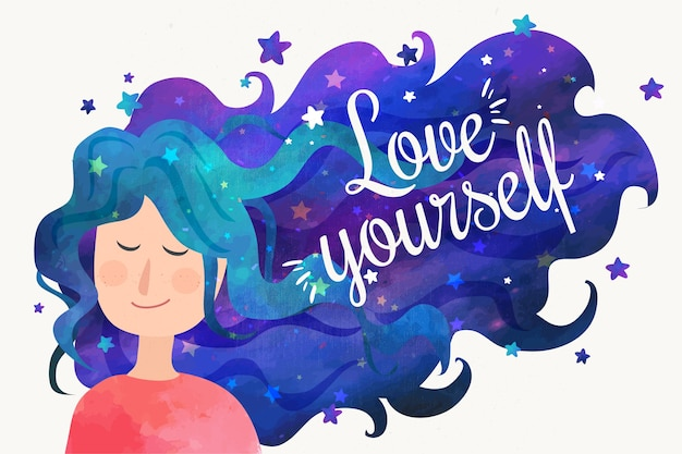 Love yourself quote and woman with night sky hair