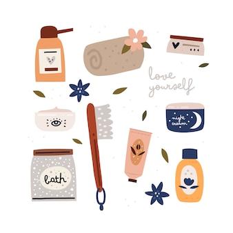 자신을 사랑하십시오. 데일리 케어 용 화장품 컬렉션
