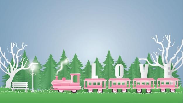電車ピンクキャリーテキストlove