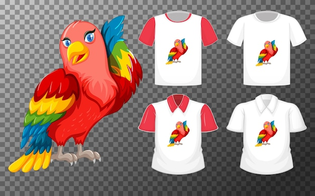 Lovebird cartoon character with many types of shirts on transparent background