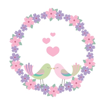 Lovebirds and a floral wreath illustration