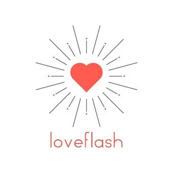 赤いハートと太陽がはじけるラブフラッシュ。結婚や結婚式のバッジ、日光、フレア、ブーム、日光の概念。白い背景で隔離。フラットスタイルトレンドモダンなロゴタイプデザインベクトルイラスト