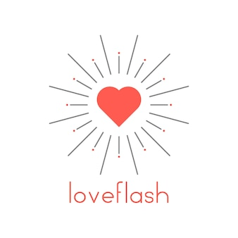 Loveflash with red heart and sun burst. concept of marriage or wedding badge, sunlight, flare, boom, sunlight. isolated on white background. flat style trend modern logotype design vector illustration