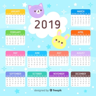 Lovely 2019 calendar template with flat design