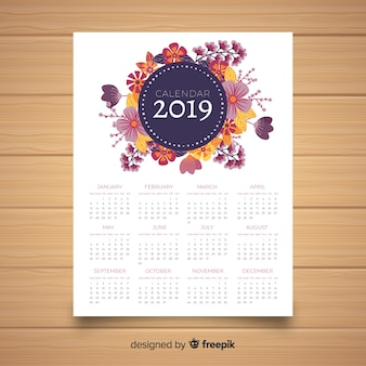 Lovely 2019 calendar template with floral style