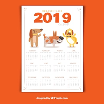 Lovely 2019 calendar with flat design
