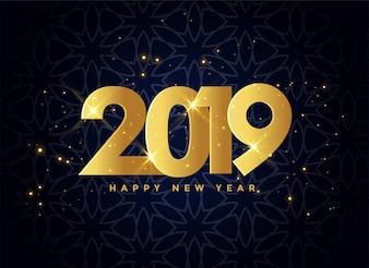 Прекрасный 2019 золотой блестками фон