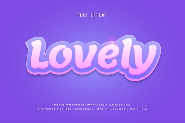 Lovely 3d text effect on purple background