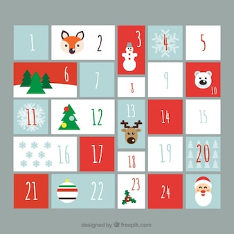 Lovely advent calendar in flat design