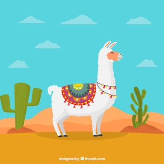 Lovely alpaca character wit flat design