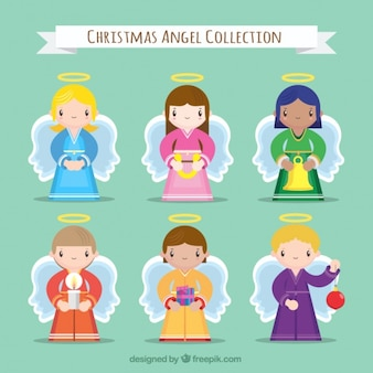 Lovely angels characters with christmas accessories