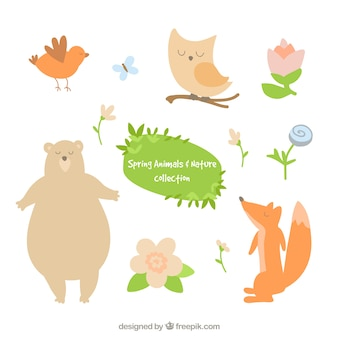 Lovely animals and flowers set