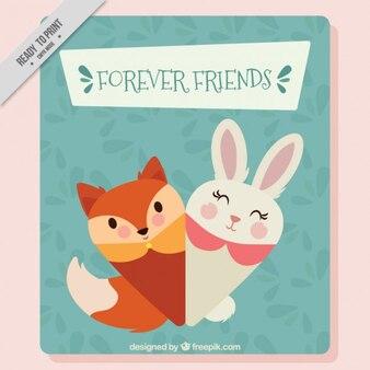 友情のカードを挨拶ラブリー動物