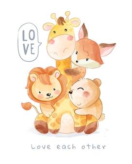서로 포옹하는 사랑스러운 동물 만화 그림