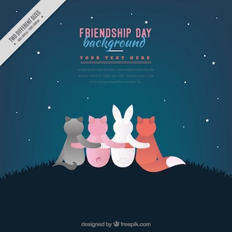 Lovely animals stearing starry sky background
