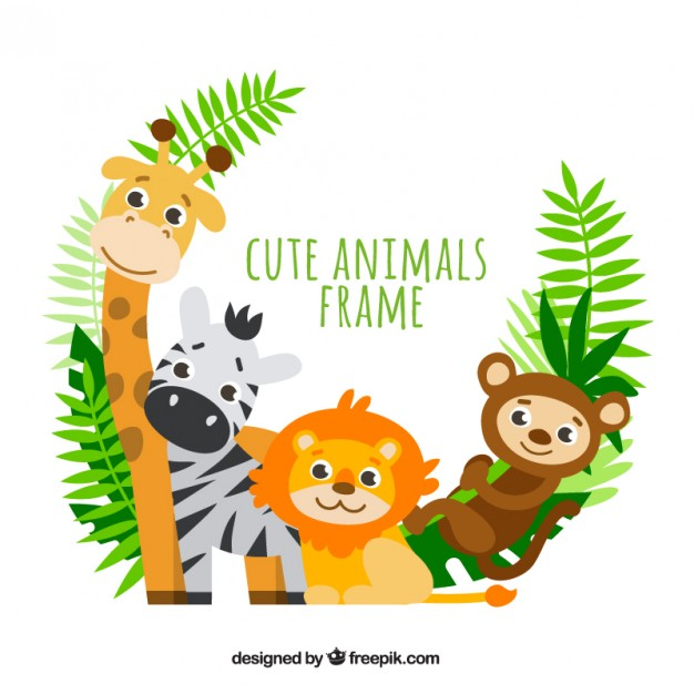 Lovely animals with palm leaves frame