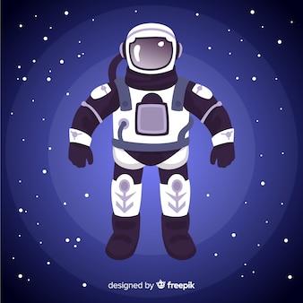 Симпатичный персонаж космонавта с плоским дизайном Бесплатные векторы