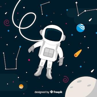 Симпатичный персонаж космонавта с плоским дизайном
