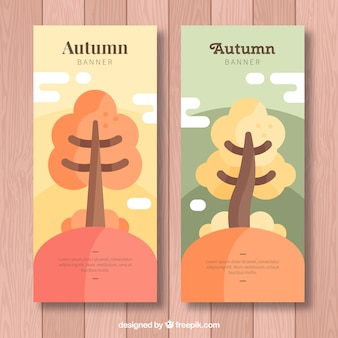 Lovely atumnal banners with flat design