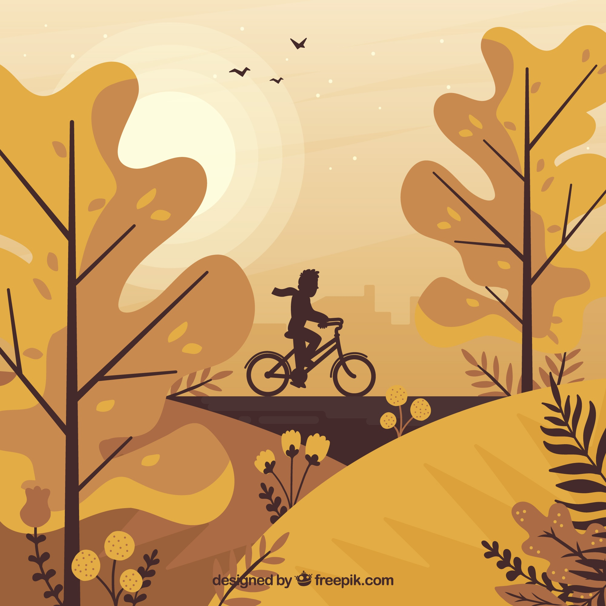 Lovely autumn background with flat design