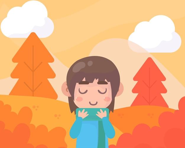 女の子との素敵な秋の背景