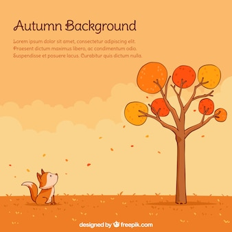 Lovely autumn backgroung with hand drawn style