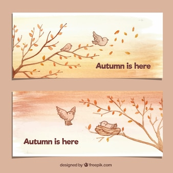 Lovely autumn banners with birds and tree