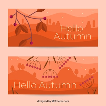 Lovely autumn banners with flat design