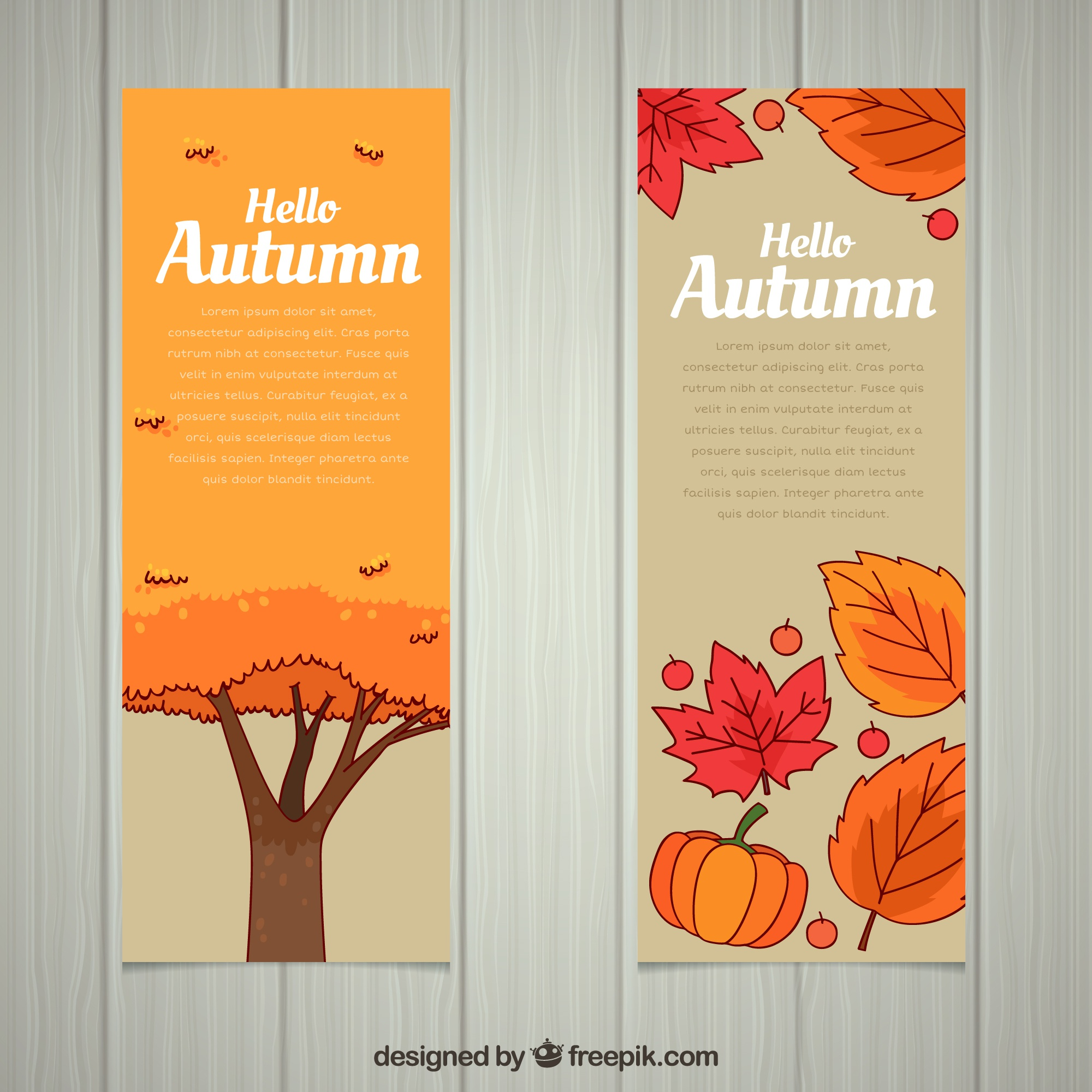 Lovely autumn banners with hand drawn style