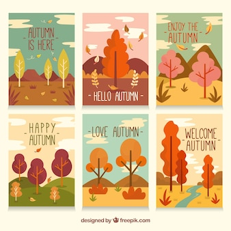 Lovely autumn card collection with flat design