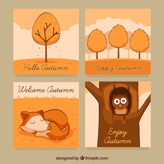 動物や木々の可愛い秋のカード