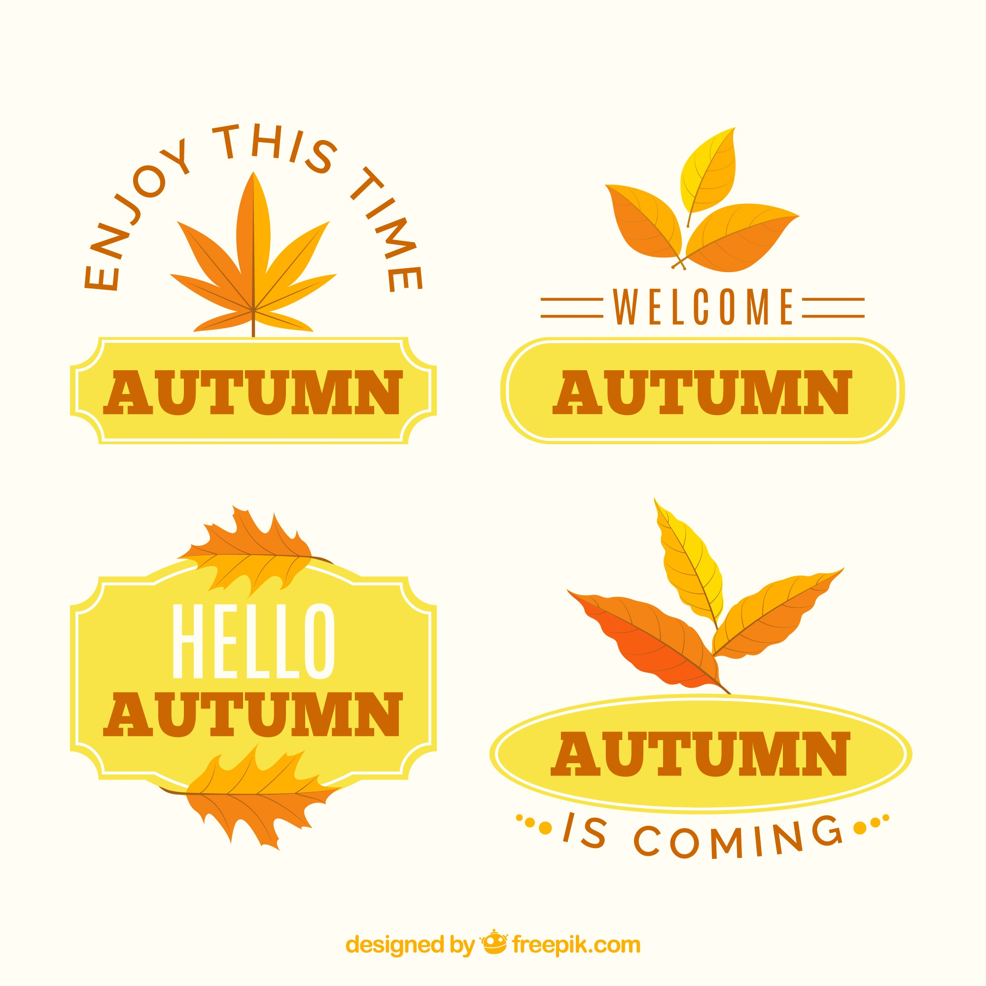 Lovely autumn label collection with flat design