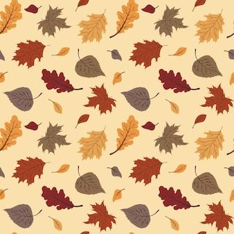 Прекрасный узор из осенних листьев в теплых тонах, бесшовные повторения. модный плоский стиль. отлично подходит для фонов, одежды и редакционного дизайна, открыток, подарочной упаковочной бумаги, домашнего декора и т. д.