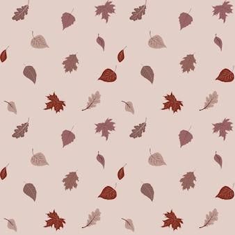 暖かい色の素敵な紅葉のパターン、シームレスな繰り返し。トレンディなフラットスタイル。背景、アパレルの編集デザイン、カード、ギフト包装紙、家の装飾などに最適です。