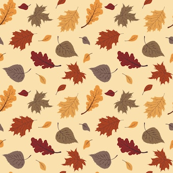 Lovely autumn leafs pattern in warm colors, seamless repeat. trendy flat style. great for backgrounds, apparel & editorial design, cards, gift wrapping paper, home decor etc.