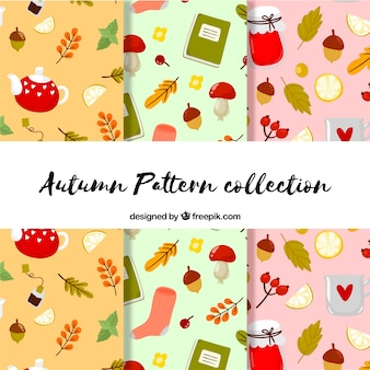Lovely autumn pattern collection with illustrations