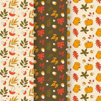Lovely autumn pattern collection with leaves