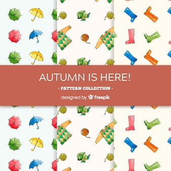Lovely autumn patterns collection with clothes