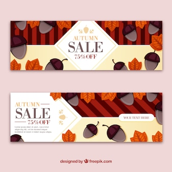 Lovely autumn sale banners with flat design