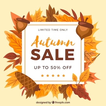 Lovely autumn sale composition with flat design
