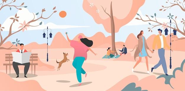 Прекрасный осенний городской сад, веселые люди гуляют по весеннему утреннему парку