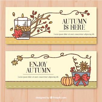 Lovely autumnal banner with hand drawn style
