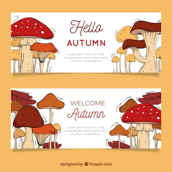 Lovely autumnal banners with hand drawn mushrooms