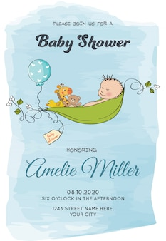 Lovely baby boy shower card template