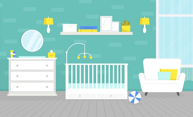 Lovely baby room interior with furniture illustration