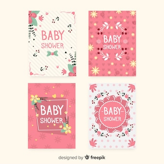 Lovely baby shower card collection with flat design