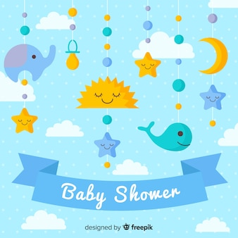 Lovely baby shower composition with flat design