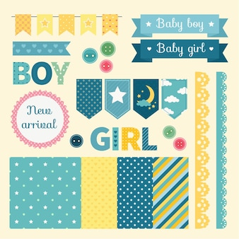 Lovely baby shower scrapbook elements set Premium Vector