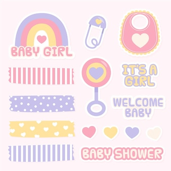 Lovely baby shower scrapbook elements