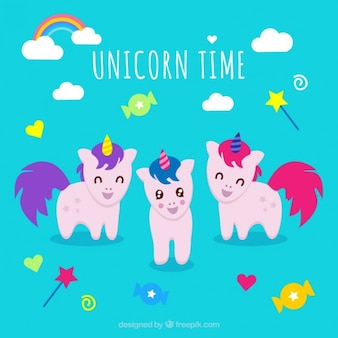 Lovely baby unicorns with elements
